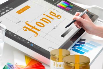 Grafikdesign-Services für Honigglasetiketten