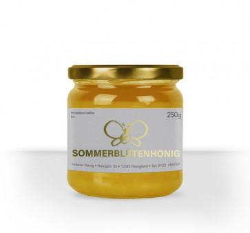 """Kleine Honigetikett """"Sommergold"""" auf Honigglas"""