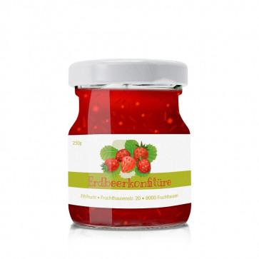 """""""Erdbeerkonfitüren"""" - das kleine Etikett zum passenden Inhalt"""