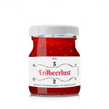 """Kleine Konfitürenetikett """"Erdbeerlust"""" auf Glas"""