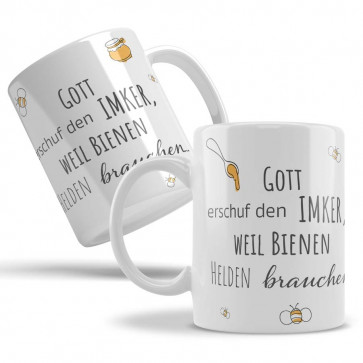 "Keramiktasse ""Imker-Gott!"