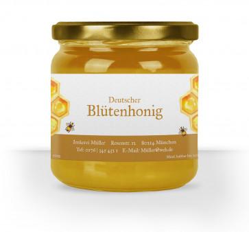 """Honigglas-Etikett """"Dicke Biene"""" ocker"""