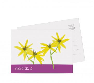 """Grußkarten """"Floral"""" lila"""