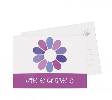 "Grußkarten ""Flowerpower"" lila"