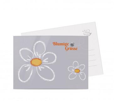 "Grußkarten ""Kreideblatt"" orange"
