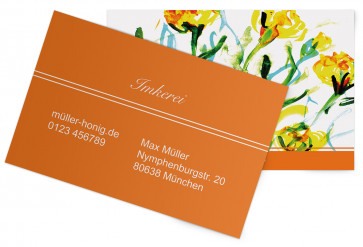 """Visitenkarten """"Aquarell-Flower"""" orange"""