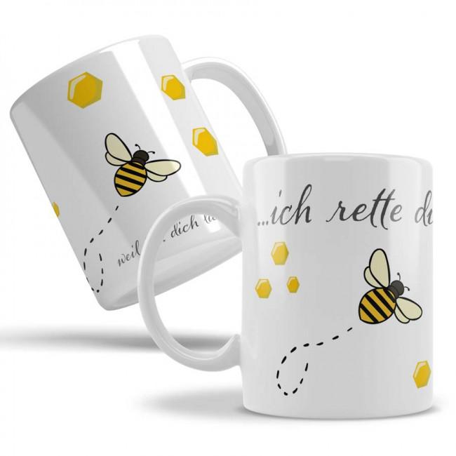 Imkerbedarf Tasse Kaffeetasse mit Imker Imkerei Honig Biene Wabe Beidseitiger Druck