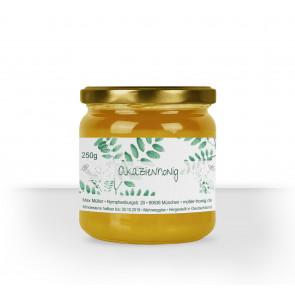 """Kleines Honigglas-Etikett """"Akazienhonig"""" auf Glas"""