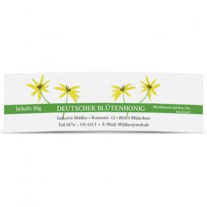 """Mini-Honigglasetiketten """"Floral"""" mit grünem Streifen"""