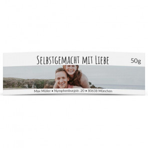 """Fotostyle-Honigglasetikett """"Selbstgemacht mit Liebe"""""""