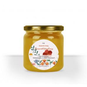"""Rundes Etikett """"Bienentraum"""" auf Honigglas"""