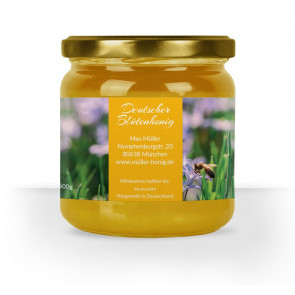 """Honigglasetikett """"Blausternchen"""" in Gelb"""
