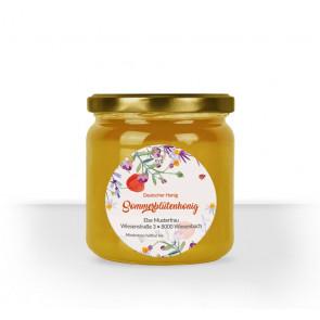 """Rundes Etikett """"Blumenwiese"""" auf Honigglas"""