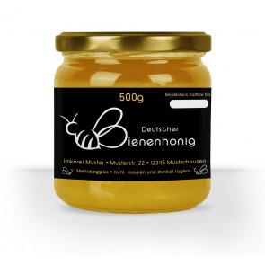 """Etikett """"Herzbiene"""" auf 500 g Glas"""