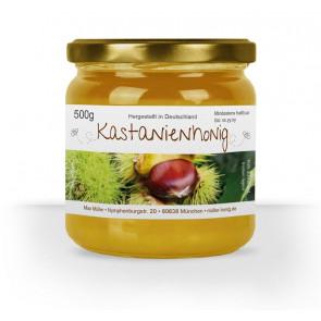 """Etikett """"Kastanienhonig"""" auf Glas"""