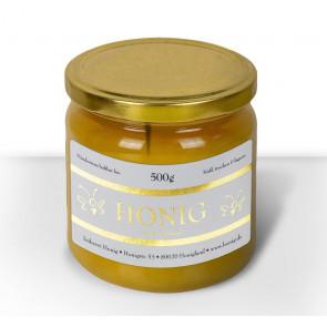 """Honigetikett """"Klassisch Gold"""" auf Honigglas"""