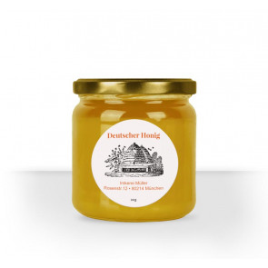 """rundes Etikett """"Bienenhaus"""" auf weißem Papier"""