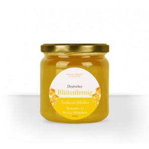"""Runde Etiketten """"Dicke Biene"""" auf Honigglas"""
