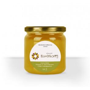 """Rundes Honigglas-Etikett """"Flowerpower"""""""