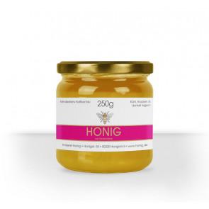 """Kleines Etikett """"Bee Stripe"""" in  X auf 250g Honigglas"""