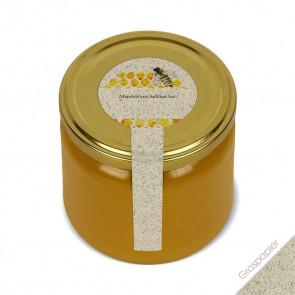 """Frischesigel """"Aquarellbiene"""" (Graspapieretiketten) auf Honigglas"""