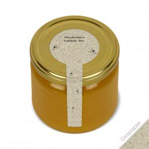"""Frischesigel """"Blütenhonig"""" (Graspapieretiketten) auf Honigglas"""