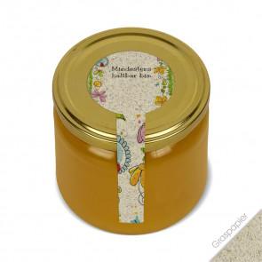 """Frischesiegel """"Gartenland"""" (Graspapieretiketten) auf Honigglas"""