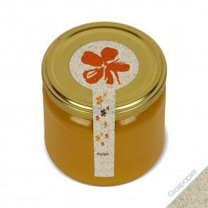 """Frischesiegel """"Stempelblume"""" als Graspapieretiketten auf Honigglas"""