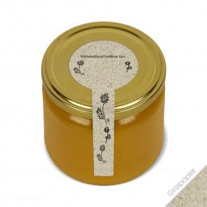 """Frischesiegel """"Wiesenfreude"""" (Graspapier) auf Honigglas"""