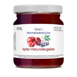 """Etikett """"Apfel-Holunder-Gelee"""" auf dem Glas"""