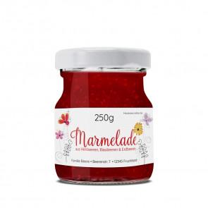 """Marmeladenetikett """"Blumenfreunde""""auf Glas"""