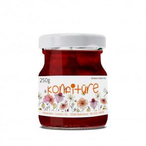 """Kleines Marmeladenetikett """"Fruchttanz"""" auf Glas"""