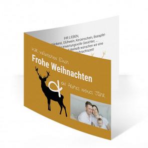 """Weihnachtskarten """"Waldweihnacht"""" in Gold"""