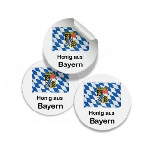 """Runde Zusatzetiketten """"Bayerischer Honig"""" Ø 25 mm"""