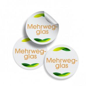 """Runde Zusatzetiketten """"Mehrwegglas"""" (gelb) Ø 25 mm"""