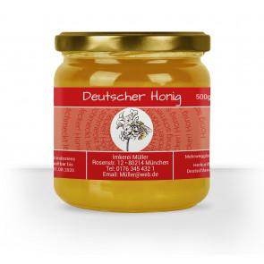 "Honigglas-Etikett ""Bienenblüte"" rot"