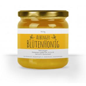 """Honigglas-Etiketten """"Blütenhonig"""" (gelb) auf weißem Papier"""
