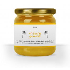 """Honigglasetikett """"Gänseblümchen"""" auf Glas  auf weißem Papier"""