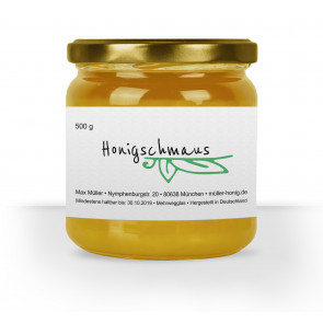 """Honigglasetikett """"Greenleaf"""" auf Glas"""