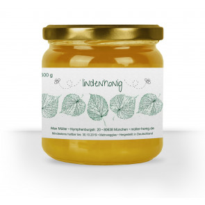"""Honigglas-Etikett """"Lindenhonig"""" auf Glas"""