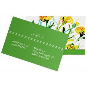 """Visitenkarten """"Aquarell-Flower"""" grün"""