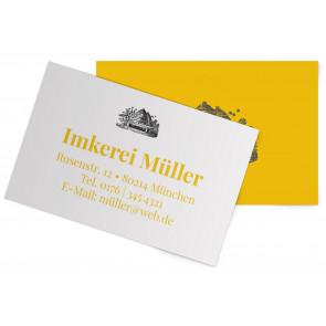 """Visitenkarten """"Bienenhaus"""" gelb"""