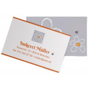 """Visitenkarten """"Kreideblatt"""" orange"""