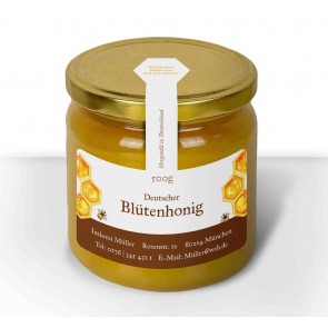 "Etikett ""Dicke Biene"" auf Honigglas"