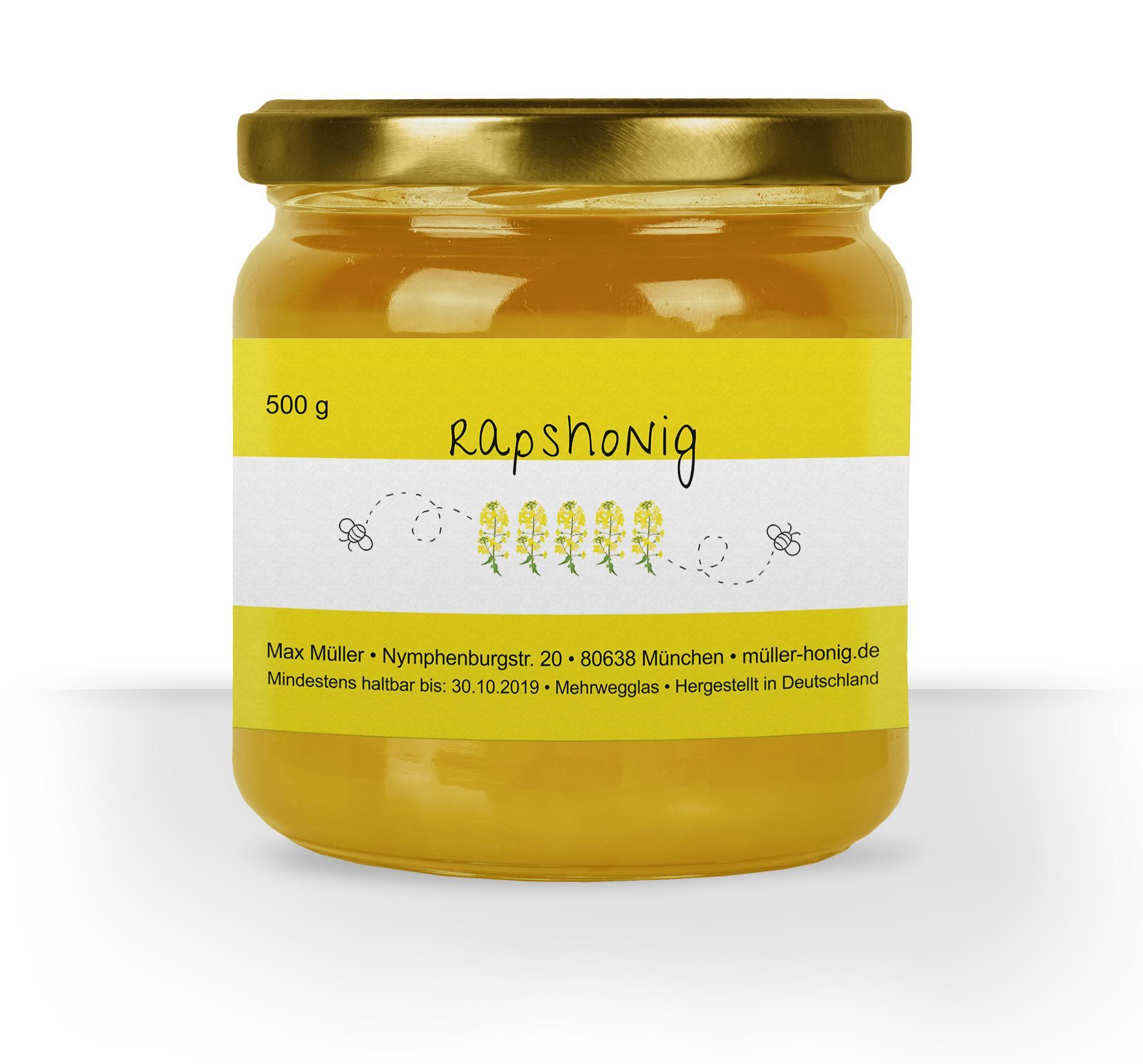 Honigglasetikett Rapshonig
