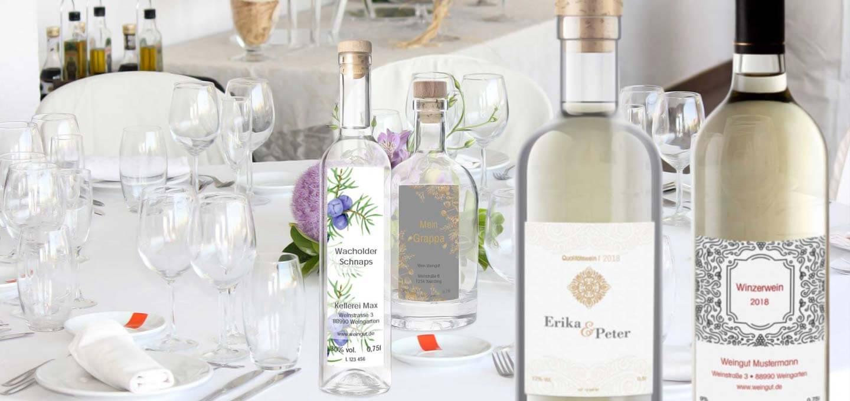 Vielfalt der Flaschenetiketten